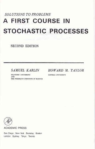a first course in stochastic processes solution manual